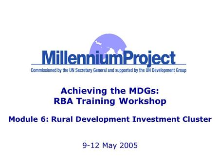 Achieving the MDGs: RBA Training Workshop Module 6: Rural Development Investment Cluster 9-12 May 2005.
