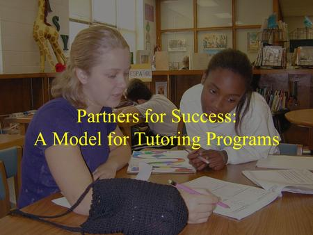 Partners for Success: A Model for Tutoring Programs.