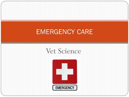 Vet Science EMERGENCY CARE. What Constitutes an Emergency?