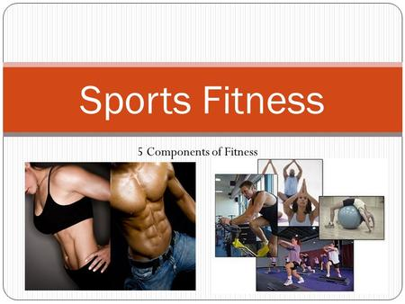 Sports Fitness 5 Components of Fitness. Session 5 Objectives SOLs: 11/12.1, 11/12.2, 11/12.3, 11/12.4, 11/12.5 Objectives: To establish and set fitness.