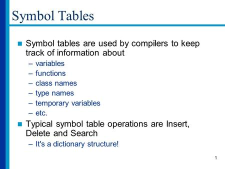 1 Symbol Tables Symbol tables are used by compilers to keep track of information about –variables –functions –class names –type names –temporary variables.