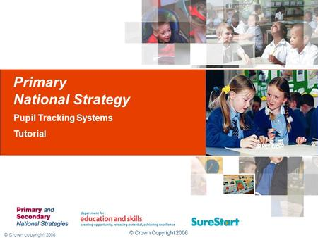 © Crown copyright 2006 Primary National Strategy Pupil Tracking Systems Tutorial © Crown Copyright 2006.
