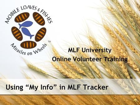 "Using ""My Info"" in MLF Tracker MLF University Online Volunteer Training 1 TM."
