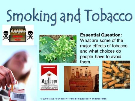 Essential Question: What are some of the major effects of tobacco and what choices do people have to avoid them.