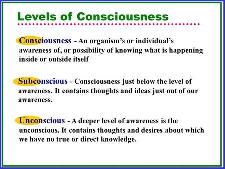 Levels of Consciousness Subconscious - Consciousness just below the level of awareness. It contains thoughts and ideas just out of our awareness. Unconscious.