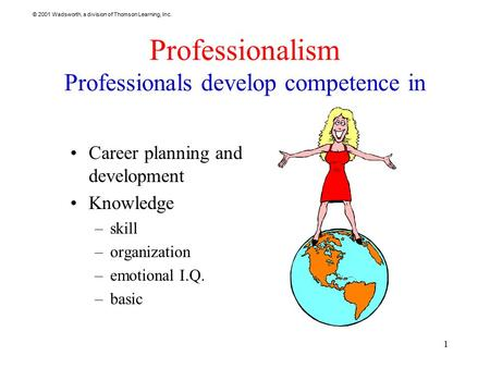 © 2001 Wadsworth, a division of Thomson Learning, Inc. 1 Professionalism Professionals develop competence in Career planning and development Knowledge.