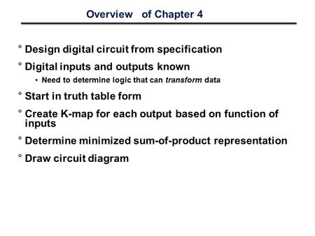 Overview of Chapter 4 °Design digital circuit from specification °Digital inputs and outputs known Need to determine logic that can transform data °Start.