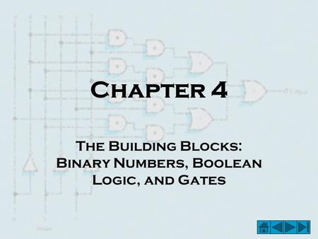Chapter 4 The Building Blocks: Binary Numbers, Boolean Logic, and Gates.
