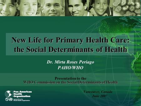 New Life for Primary Health Care: the Social Determinants of Health Dr. Mirta Roses Periago PAHO/WHO WHO Commission on the Social Determinants of Health.