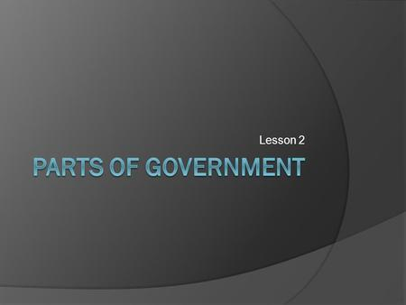 Lesson 2. Government  The organization set up with the power to protect the community, provide services, and enforce its rules. Democracy Monarchy Dictatorship.