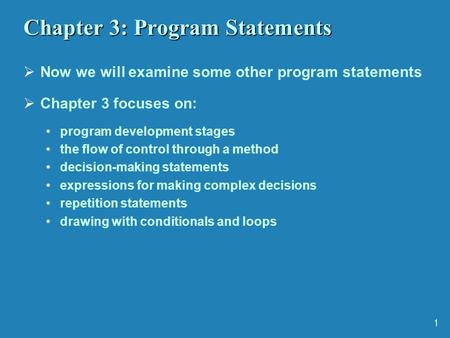 Chapter 3: Program Statements
