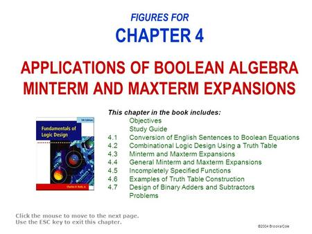 ©2004 Brooks/Cole FIGURES FOR CHAPTER 4 APPLICATIONS OF BOOLEAN ALGEBRA MINTERM AND MAXTERM EXPANSIONS Click the mouse to move to the next page. Use the.