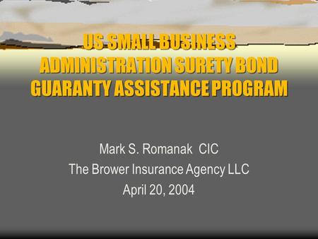 US SMALL BUSINESS ADMINISTRATION SURETY BOND GUARANTY ASSISTANCE PROGRAM Mark S. Romanak CIC The Brower Insurance Agency LLC April 20, 2004.