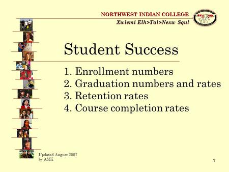 1 Xwlemi Elh>Tal>Nexw Squl NORTHWEST INDIAN COLLEGE Student Success 1. Enrollment numbers 2. Graduation numbers and rates 3. Retention rates 4. Course.