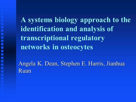 A systems biology approach to the identification and analysis of transcriptional regulatory networks in osteocytes Angela K. Dean, Stephen E. Harris, Jianhua.