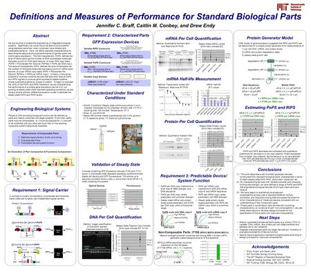 Higher copy (pSB3K3) Abstract We are working to enable the engineering of integrated biological systems. Specifically, we would like to be able to build.
