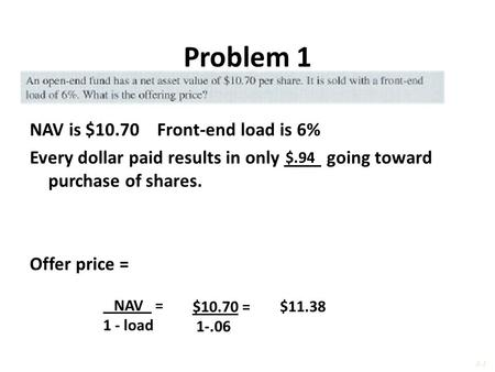 Problem 1 NAV is $10.70 Front-end load is 6% Every dollar paid results in only ____ going toward purchase of shares. Offer price = $.94 NAV = 1 - load.
