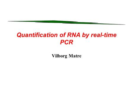 Quantification of RNA by real-time PCR