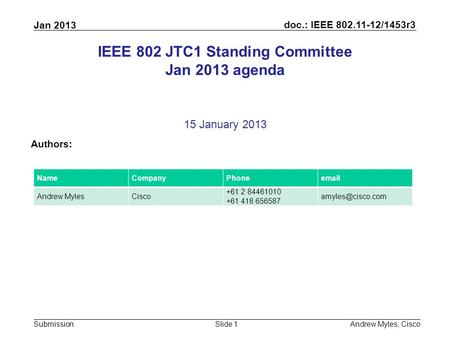 Doc.: IEEE 802.11-12/1453r3 Submission Jan 2013 Andrew Myles, CiscoSlide 1 IEEE 802 JTC1 Standing Committee Jan 2013 agenda 15 January 2013 Authors: NameCompanyPhoneemail.