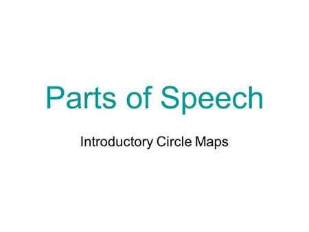 Parts of Speech Introductory Circle Maps Guess the part of speech. Nouns Asheville cats places hero things love Romeo and Juliet transformers people.