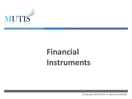  Financial Instruments © Copyright 2012 MUTIS. All rights reserved 2012.