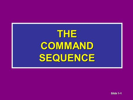 Slide 1-1 THE COMMAND SEQUENCE. Slide 1-2 Managing Company Tactical Operations.