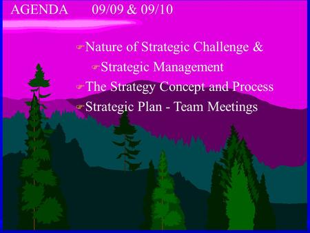 AGENDA 09/09 & 09/10 F Nature of Strategic Challenge & F Strategic Management F The Strategy Concept and Process F Strategic Plan - Team Meetings.