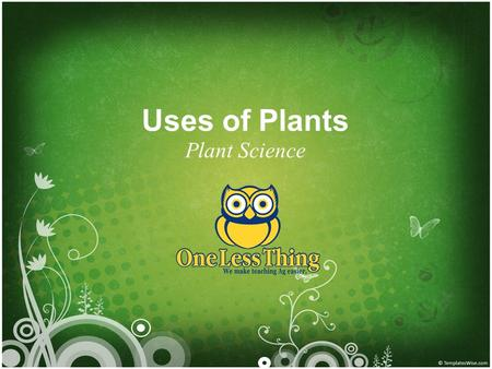 Uses of Plants Plant Science. Humans have 3 Basic Needs 1.Food 2.Clothing 3.Shelter 2 www.OneLessThing.net.