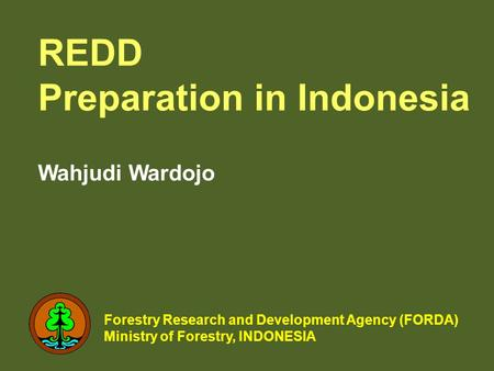 REDD Preparation in Indonesia Wahjudi Wardojo Forestry Research and Development Agency (FORDA) Ministry of Forestry, INDONESIA.
