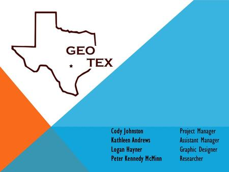 Cody JohnstonProject Manager Kathleen AndrewsAssistant Manager Logan HaynerGraphic Designer Peter Kennedy McMinnResearcher.