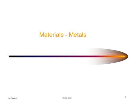 Ken YoussefiPDM I, SJSU 1 Materials - Metals. Ken YoussefiPDM I, SJSU 2 Material Selection Function MaterialShape Process Material selection and process.
