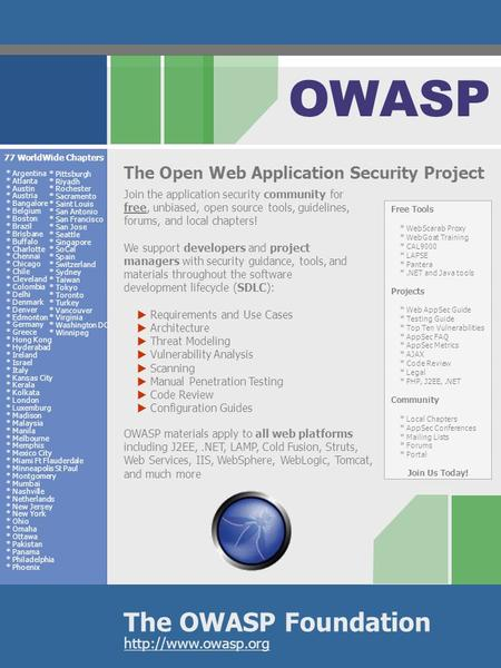 The OWASP Foundation OWASP  The Open Web Application Security Project Join the application security community for free, unbiased, open.