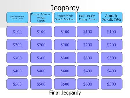 Jeopardy $100 Speed, Acceleration, Newton's Laws Friction, Mass vs. Weight, Gravity Energy, Work, Simple Machines Heat Transfer, Energy, Matter Atoms.