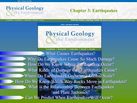 Chapter 3: Earthquakes Visit the Online Learning Centre at www.mcgrawhill.ca/college/plummerwww.mcgrawhill.ca/college/plummer Chapter 3: Earthquakes What.