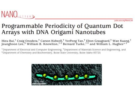Overview Towards precise patterning of nanoparticles for nanoelectronic and plasmonic devices DNA used to from complex nanostructures Authors present.
