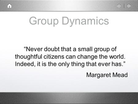 "Group Dynamics ""Never doubt that a small group of thoughtful citizens can change the world. Indeed, it is the only thing that ever has."" Margaret Mead."