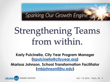 SUMMER INSTITUTEJULY 7-8, 2015 | TULSA, OK Strengthening Teams from within. Karly Pulcinella, City Year Program Manager