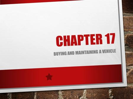Buying and Maintaining a Vehicle