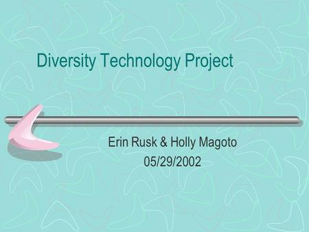 Diversity Technology Project Erin Rusk & Holly Magoto 05/29/2002.
