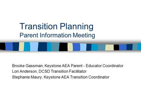 Transition Planning Parent Information Meeting Brooke Gassman, Keystone AEA Parent - Educator Coordinator Lori Anderson, DCSD Transition Facilitator Stephanie.