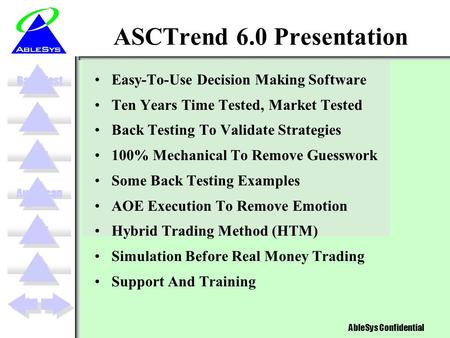 NTZAOEBack Test AbleSys Confidential AutoScanVPTMM ASCTrend 6.0 Presentation Easy-To-Use Decision Making Software Ten Years Time Tested, Market Tested.