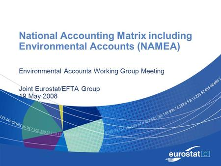National Accounting Matrix including Environmental Accounts (NAMEA) Environmental Accounts Working Group Meeting Joint Eurostat/EFTA Group 19 May 2008.