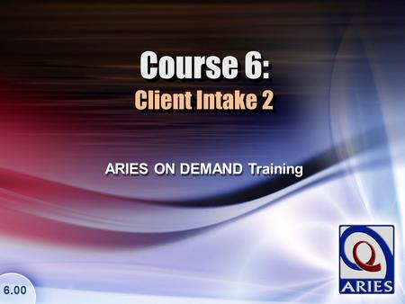 Course 6: Client Intake 2 ARIES ON DEMAND Training 6.00.
