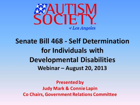 Senate Bill 468 - Self Determination for Individuals with Developmental Disabilities Webinar – August 20, 2013 Presented by Judy Mark & Connie Lapin Co.