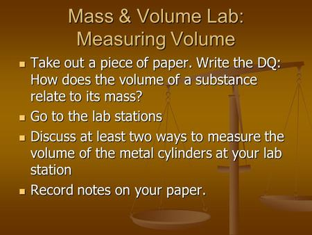 Mass & Volume Lab: Measuring Volume