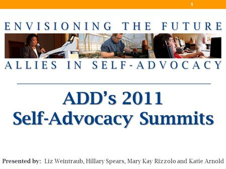 ADD's 2011 Self-Advocacy Summits 1 Presented by: Liz Weintraub, Hillary Spears, Mary Kay Rizzolo and Katie Arnold.