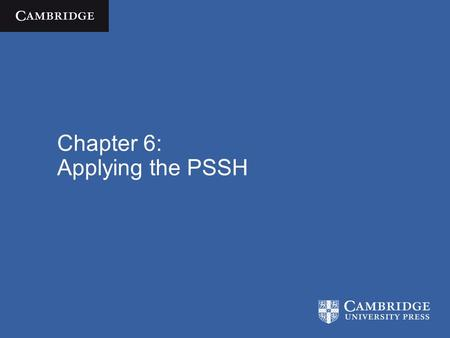 Chapter 6: Applying the PSSH. Cognitive Science  José Luis Bermúdez / Cambridge University Press 2010 Overview Explain why ID3 and SHAKEY both count.