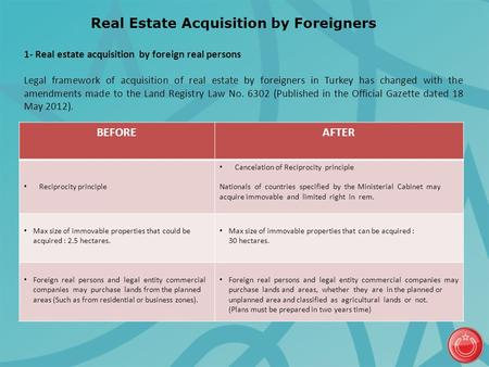 Real Estate Acquisition by Foreigners BEFOREAFTER Reciprocity principle Cancelation of Reciprocity principle Nationals of countries specified by the Ministerial.