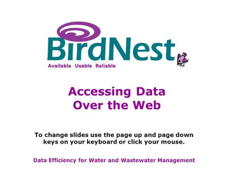 BirdNest Services Available Usable Reliable Data Efficiency for Water and Wastewater Management To change slides use the page up and page down keys on.