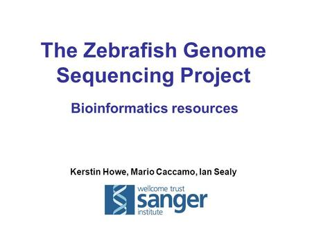Kerstin Howe, Mario Caccamo, Ian Sealy The Zebrafish Genome Sequencing Project Bioinformatics resources.